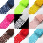Chenkou Craft Lace Fabric Stretch Elastic 8.1cm Wide Trim Lace for Headbands Garters Variety Pack Mix Colours