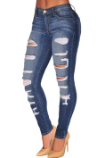 Lucklovell Women Sexy Denim Destroyed Whisker Wash Skinny Jeans (