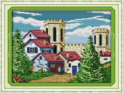 castle Embroidery Kit Precise Printed Needlework Cross stitch
