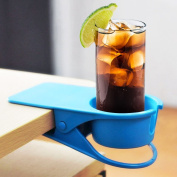 Fun Cup Holder Clip   Portable Heavy Duty Clip On Table Cup Holder with Super Strong Clamps, Holds Large Glass Securely (Up To 710ml), for Mug Water Bottle Coffee Cups Saucer Teacups   Blue
