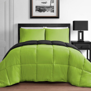 Modern 2 Piece King & Queen Home Reversible Microfiber Comforter Set in Lime Green & Black