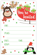 Reindeer Christmas Party Invitations - Fill In Style (20 Count) With Envelopes