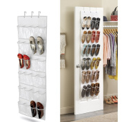 NEX Shoe Organiser Over The Door Shoe Rack 24-Pocket Behind the Door Hanging Organiser Storage Bag