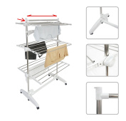 Todeco - Clothes Dryer - Large Capacity Rack with 3 Levels and Bar for Sheets