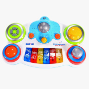 GlowSol DJ Music Mixer Piano with Microphone for Kids with Music and Light