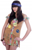 (2529) 60's 70's Flower Power Costume Adult/ Womens Fancy Dress Outfit Small ...