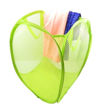 Foldable Pop-Up Mesh Laundry Hamper Storage Bag Basket Clothes Toys Books 16 x 12 Neon Green