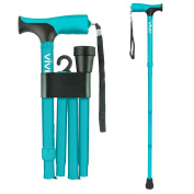 Folding Cane by Vive - Best Walking Cane for Men & Women - Collapsible, Lightweight, Adjustable & Portable Walking Stick Mobility Aid - Sleek Look & Comfortable Handles - Lifetime Guarantee