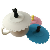 Cojoy 3 Pcs Anti-dust Silicone Glass Cup Cover Coffee Mug Suction Seal Lid Cap
