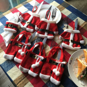 Prextex Set Of 6 Santa Cutlery Holder With 6 Santa Belt Napkin Rings Best Christmas Dining Table Decoration