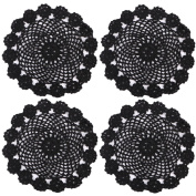 kilofly Crochet Cotton Lace Table Placemats Doilies Pack, 4pc, Black, 18cm