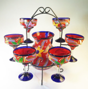 Mexican Margarita Glasses and Pitcher set with dispaly rack, Hand Blown, Hand Painted, Red with various flowers, 410ml
