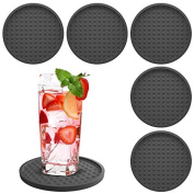 Drink Coasters Silicone 6 Pack with Good Grip on any Table or Bar, Prevents Furniture Damage, Large Modern Soft Rubber Coaster, Place Mat for Beverage and Liquor Drinking Glasses, Black
