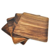 Pacific Merchants Trading Acaciaware 18cm Acacia Wood Square Plate, set of 4