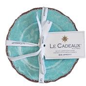 Le Cadeaux Antiqua Turquoise - Set of 4 Appetiser Plates
