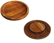 Cypress Home Acacia Wood Wine Glass Appetiser Plate, Set of 2