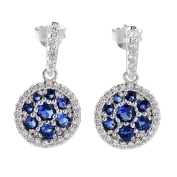 Sterling Silver White CZ Round Sapphire Cut Dangle Earring