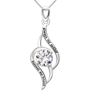 """ALOV Jewellery Sterling Silver """"always my mother Forever my friend"""" Love Cubic Zirconia Pendant Necklace"""