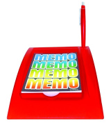 Acrylic Memo Pad Holder, Transparent Red - Includes Pen & Paper Note Pad.