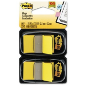 Standard Tape Flags in Dispenser, Yellow, 100 Flags/Dispenser, Total 24 PK, Sold as 1 Carton