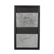 DesignOvation Walcott Decorative Wall Organiser Mail Holder with Two Metal Pockets, Black