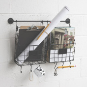 Wall Mounted Multipurpose Hanging Wall File Folder Mail Organiser with Rail and Wire Baskets Magazine Holder Black