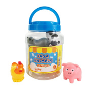Boley Small Bucket Farm Animals - 12 piece Farm Animal toys features, cow, chicken, pig and more! - Perfect party gift for anyone giving educational toys or bath toys for toddlers!