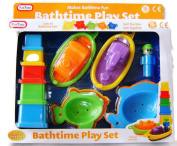 New 13pc Fun Bath Time Play Set Toys Boats Scoops Fish Blocks 5384 PADG For Age  .