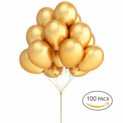 Gold Ballons Hovebeaty 30cm thicken Latex Metallic Balloons 100 Pack for Wedding Party Baby Shower Christmas Birthday Carnival Party Decoration Supplies