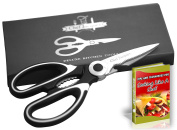 Chef Jacques Premium Stainless Steel Kitchen Shears - Award Winning Heavy Duty Multi Function Kitchen Scissors - Large Super Sharp with Soft Grip Handles (Black) - eBook Included