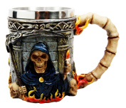 Atlantic Collectibles Day Of The Dead Holy Death Fire Grim Reaper With Scythe Beer Stein Tankard Coffee Cup Drink Mug 350ml