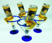 Mexican Glass Margarita Blue Rim 440ml with Coronarita Clips Corona Beer Holders