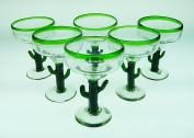 Mexican Glass Margarita Saguaro Cactus Green Rim Hand Blown Set of 6