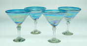 Mexican Glass Martini Blue White Swirl 440ml