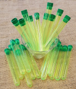 Test Tube Shots, PACK of 25, YELLOW Plastic Tubes with GREEN Caps