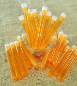 Test Tube Shots, PACK of 25, ORANGE Plastic Tubes with CLEAR Caps