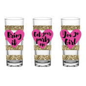 Slant Collections Set of Three Shot Glasses - 60ml Each - Gold Glitter Stripes with Pink Hearts - Bring It, Get Your Party On, You Go Girl