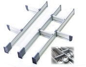 Adjustable Drawer Organiser, Customizable, Elegant Aluminium, for Clutter Free Kitchen, Junk Drawer, Office, Clinic (9 Dividers Set - Small | for Drawers 39 cm - 44.5 cm long) by Practical Comfort