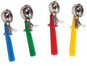Culinary Depot Stainless Steel Ice Cream Scoop Disher, 4-Piece Colour Handle Set - 12, 16, 20, 24 Scoops