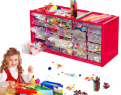 Arts & Crafts Supply Centre Complete with 20 Filled Drawers of Craft Materials