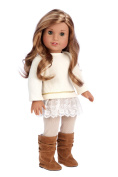 Romantic Melody - 3 Piece Outfit - Tunic, Leggings and Boots - 46cm doll clothes