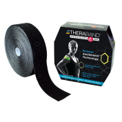 TheraBand Kinesiology Tape, Physio Tape for Pain Relief, Muscle Support, and Injury Recovery, Standard Roll with Application Indicators, 5.1cm x 31m Bulk Roll, Black/Black