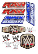 WWE Wrestling Ring Smackdown Raw Logo Edible Wafer Card Sheet Birthday Cake Toppers