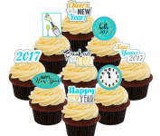 New Year Party Pack - Edible Cupcake Toppers - Stand-up Wafer Cake Decorations