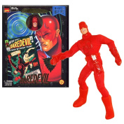 ToyBiz Year 1998 Marvel Comics Famous Cover Series 20cm Tall Ultra Poseable Action Figure - The Man Without Fear DAREDEVIL with Authentic Fabric Costume and White Billy Stick