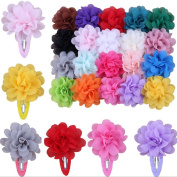 10Pcs Chiffon Flowers Baby Girls Kids Hairpin Hair Bow Snap Alligator Clips Barrettes,Colour Random