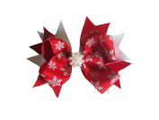 PrettyBoutique 10cm Girls Christmas Snowflakes Grosgrain Hair Bow Alligator Clip
