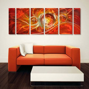 Winpeak Art Original Handcrmade Red Abstract Metal Wall Art Orange Painting Home Decor Large Modern Hanging Contemporary Aluminium Sculpture – Decorative Artwork