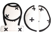 Seat belt covers - pads for Maxi-Cosi or stroller - White black crosses ♥♥♥