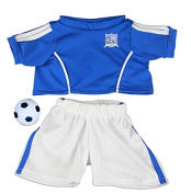 Blue Football Soccer outfit with ball / teddy clothes to fit 38cm Build a Bear bears